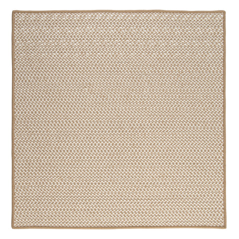 Houndstooth Tweed Indoor Outdoor Square Braided Rug, OT89 Cuban Sand