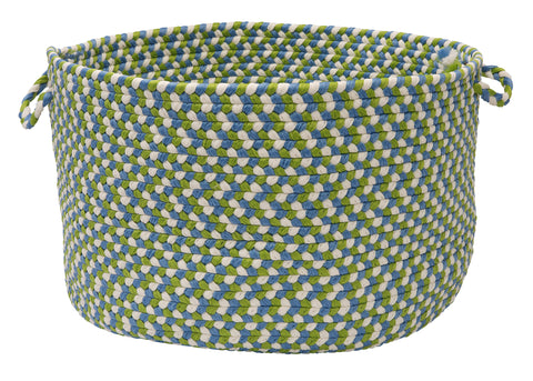 Carousel Indoor Outdoor Round Braided Basket, OU49 Lime Spin