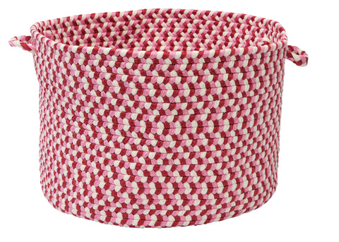 Carousel Indoor Outdoor Round Braided Basket, OU79 Ruby Pop