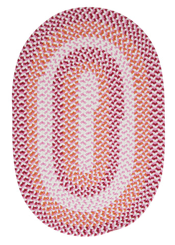 Carousel Indoor Outdoor Oval Braided Rug, OU79 Ruby Pop