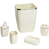 5-Piece Plastic Bath Accessory Set in Ivory