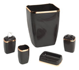 5-Piece Plastic Bath Accessory Set in Dark Brown