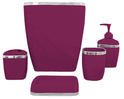 5-Piece Plastic Bath Accessory Set in Burgundy