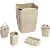 5-Piece Plastic Bath Accessory Set in Linen