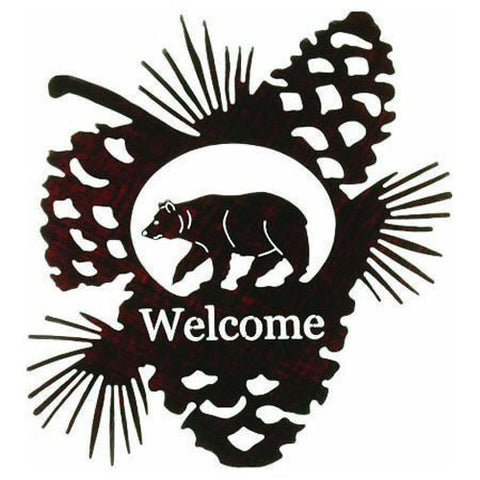 Bear and Pinecone Welcome Metal Wall Art