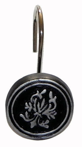 Balmoral Resin Shower Curtain Hooks Set in Black and Silver Color Finish
