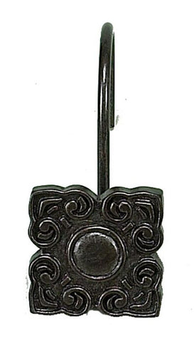 Bellport Resin Shower Curtain Hooks Set in Oil Rubbed Bronze Color Finish