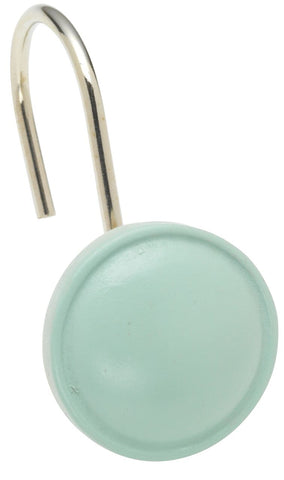 Jade Button-Style Resin Shower Curtain Hooks Set