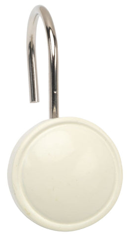 Bone Button-Style Resin Shower Curtain Hooks Set