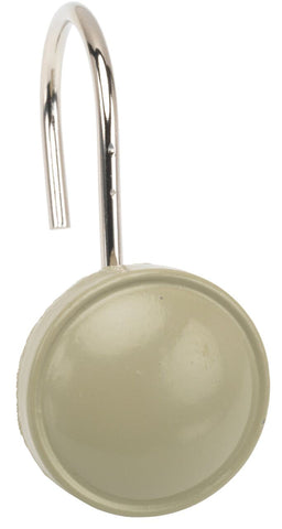 Sage Button-Style Resin Shower Curtain Hooks Set