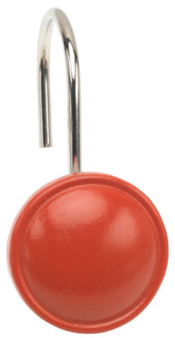 Tangerine Button-Style Resin Shower Curtain Hooks Set