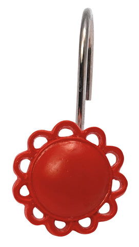 Red Filigree Resin Shower Curtain Hooks Set
