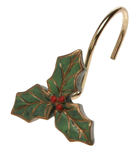 Holly Leaf Resin Shower Curtain Hooks Set