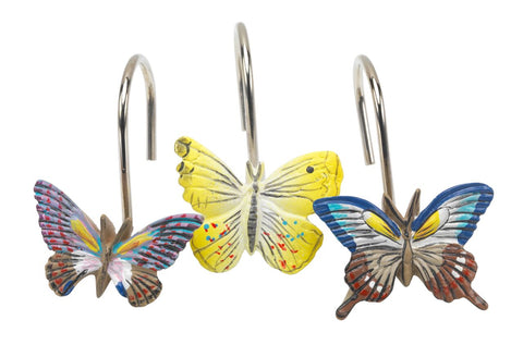 Butterflies Resin Shower Curtain Hooks Set