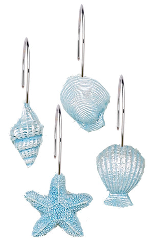 Blue Sea Shells and Starfish Resin Shower Curtain Hooks Set