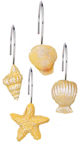 Ivory Sunset Sea Shells and Starfish Resin Shower Curtain Hooks Set