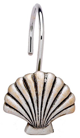 Antiqued Silver Clam Shell Resin Shower Curtain Hooks Set