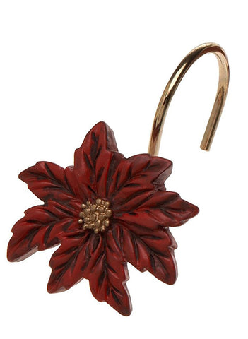 Red Poinsettia Bloom Resin Shower Curtain Hooks Set