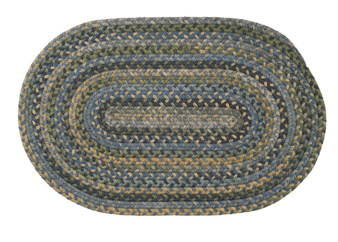Rustica Oval Braided Wool Rug, RU50 Whipple Blue