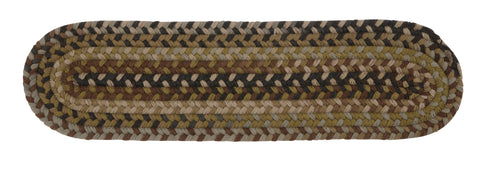 Rustica Oval Braided Wool Stair Tread, RU60 Grecian Green