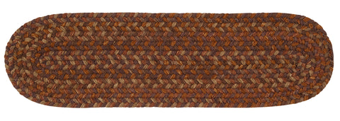 Rustica Oval Braided Wool Stair Tread, RU70 Audubon Russet