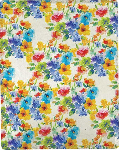 "Vivid Flower Blooms by Martha Collins Polyester Throw 50""x60"""