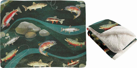 "Gone Fishing by Martha Collins Fleece Throw 50""x60"""