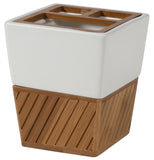 Classy Diagonally Slatted Bamboo Bathroom Accessories