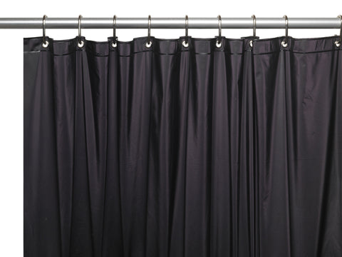 Black 5 Gauge Vinyl Extra Long 72x84 Shower Curtain Liner