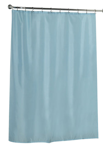 Light Blue Water Resistant Fabric Shower Curtain with Weighted Bottom
