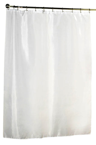 "White 108""x72"" Water Resistant Fabric Shower Curtain with Weighted Bottom"
