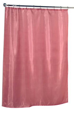 Rose Pink Water Resistant Fabric Shower Curtain with Weighted Bottom