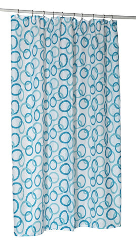 "Blue Contemporary Circles Stall Size 54""x78"" Fabric Shower Curtain"
