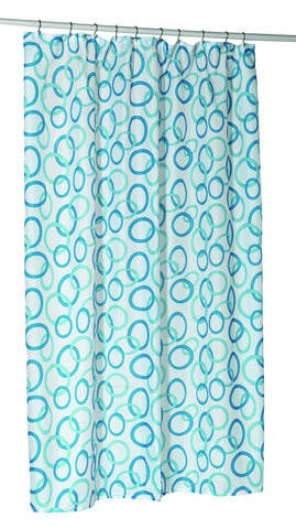 Contemporary Circles Extra Long 70x84 Fabric Shower Curtain