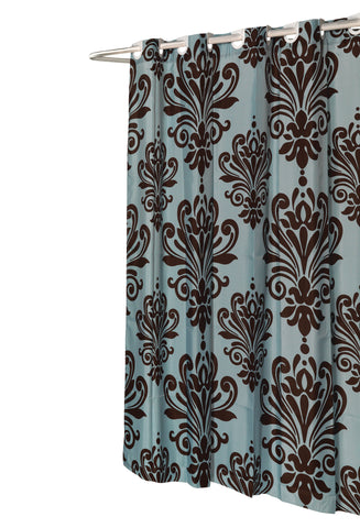 Chocolate Brown on Spa Blue EZ On French Inspired Motif Fabric Shower Curtain with Built-in Hooks