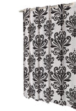 Black and White EZ On French Inspired Motif Fabric Shower Curtain with Built-in Hooks