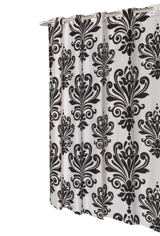 Black And White EZ On French Inspired Motif Fabric Shower Curtain With TntCommodities