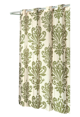 Sage And Ivory EZ On French Inspired Motif Fabric Shower Curtain With Built In Hooks