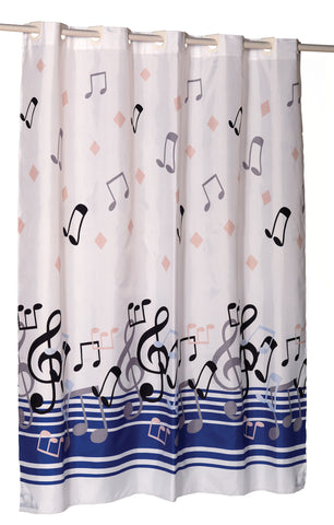 "Music Notes 70""x72"" EZ On Fabric Shower Curtain with Built-In Hooks"