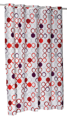 "Bold Modern Circles 54""x78"" EZ On Fabric Shower Curtain with Built-In Hooks"