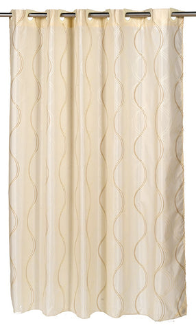 "Wavy Lines Exra Wide 108""x72"" EZ On Fabric Shower Curtain with Built-In Hooks"