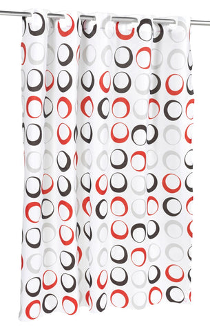 Bold Contemporary Circles EZ On Fabric Shower Curtain with Built-In Hooks