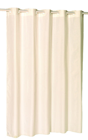 "Ivory Checks 70""x72"" EZ On Fabric Shower Curtain with Built-In Hooks"