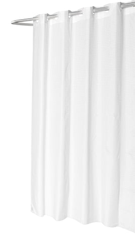 "White Checks 54""x78"" EZ On Fabric Shower Curtain with Built-In Hooks"