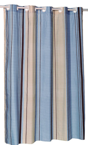 Blue And Tan Stripes EZ On Fabric Shower Curtain With Built In Hooks