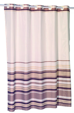 Brown And Tan Stripes Ez On Fabric Shower Curtain With Built In