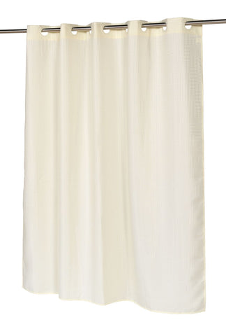 "Ivory Waffle Weave 70""X72"" EZ On Fabric Shower Curtain with Built-In Hooks"