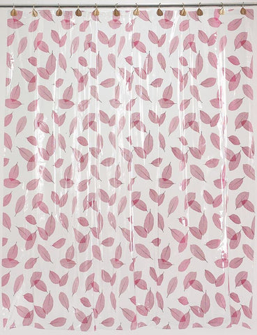 "Burgundy Leaves 5 Gauge Vinyl Print 72""x72"" Shower Curtain"
