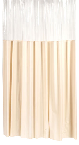 "Ivory 70""x84"" Window-Style 10 Gauge Vinyl Shower Curtain with Metal Grommets"