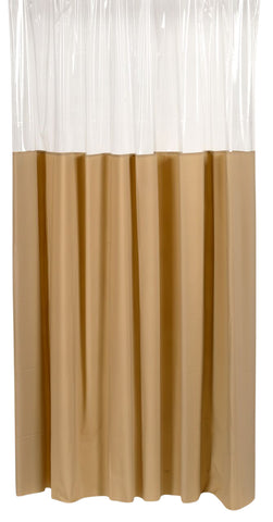 "Linen 72""x72"" Window-Style 10 Gauge Vinyl Shower Curtain with Metal Grommets"
